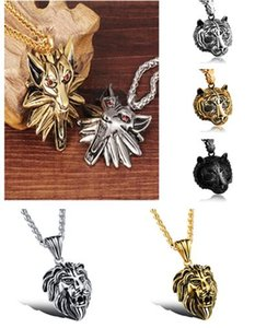 Wholesale Vintage Wizard Wolf Head Pendant Necklace Fashion Jewelry Gold Color Silver Color Stainless Steel Men Jewellery Necklace