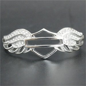 Wholesale 1pc Support Dropship New Crystal Wings Motorcycles Bracelet L Stainless Steel Hot Selling Biker Style Angle Wings Bracelet