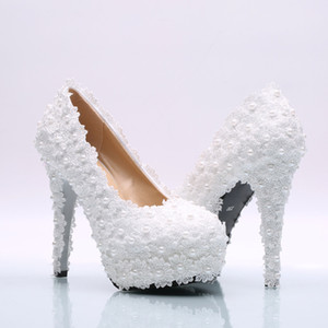 Wholesale Diamond Crystal Lace Wedding Shoes Sweet Flower Lace Platform High Heels Pearls Wedding Shoes Bride Dress Shoes