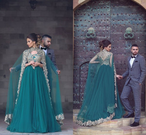 Wholesale Vintage Green Arabic Evening Dresses With High Neck Appliqued Floor Length Jacket Cape Tulle Formal Evening Gowns Long Prom Dresses