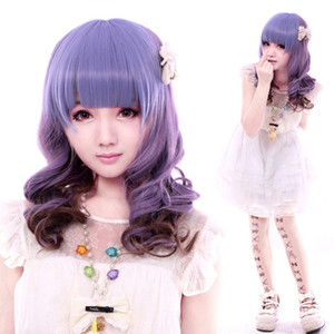 no lace Daily wigs Cosplay Hair Peruca Pelucas Tokyo Harajuku style Anime ombre wig waterlines Curly Synthetic Hair Wig peluca Cosplay Purpl
