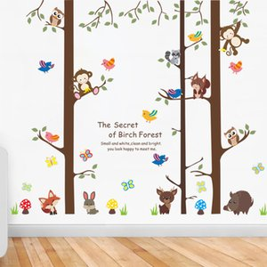 Cartoon Animals on Big Tree Wall Stickers The secret of Forest Wallpaper Poster Art Kids Room Nursery Wallpaper Poster Home Decoration Decal