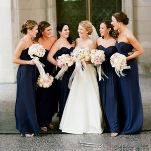 Wholesale Cheap Navy Blue Bridesmaid Dresses 2018 Floor Length Sweetheart Wedding Guest Dress Formal Maid Of Honor Gowns
