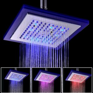 "3 Colors Auto Changing LED Shower 8"" Square Head Light Water Bathroom Rain Top Rainfall shower heads"