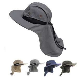 Mens Womens Wide Brim Outdoor Sunshade Neck Protection Fishing Flap Bucket Hat Climb Mountain Jungle Hiking T202