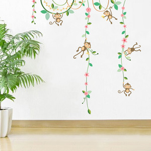 Wholesale wall stickers flowers for sale - Group buy Cartoon Monkey Climbing Flower Vine Wall Decals Kids Room Nursery Wall Decor Wallpaper Poster Boys Girls Room Infant Wall Stickers