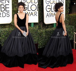 Black Velvet Scoop Neck Ball Gown Celebrity Prom Dresses Zazie Beetz Red Carpet Golden Globes Gowns 2019 Cheap Backless Formal Wear Backless on Sale