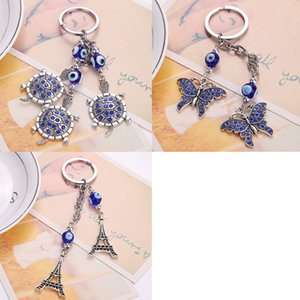 Wholesale Beautiful Blue Turtles Eiffel Tower Keychains Car Keyring Turkey Blue Eye Bead Keyring For Women Purse Bag Pendant Accessories Jewelry