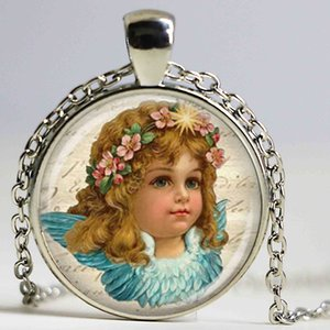 Wholesale little girl victorian necklace angel bule pendant religious handmade jewelry