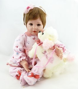 Wholesale silicone dolls body resale online - 20 inches Lifelike Silicone Baby girls Reborn Babies Dolls Gentle Touch Weighted Body Alive Boneca Kids Playmate