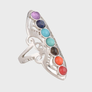 Free shipping New Fashion Vintage Natural Stone Ring Colorful Centre YoGa Rings Ancient Silver Plated Gemstone Rings