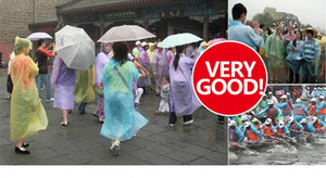 free DHL wholesale One-time fashion outdoor PE raincoat poncho Rain Wear Ultra-thin transparent easy to carry Disposable Travel Rain Coat on Sale