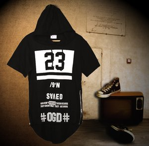 Wholesale men dark series tee tops with hat Lengthen plus size zipper gothic short cool T shirt hiphop hoody streetboys bboys awesome