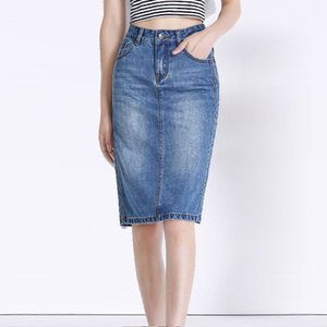 Wholesale 2017 New Knee Length Vintage Women Denim Pencil Skirt Office Ladies Blue Casual Female Jean Bottoms Girl Clothing Zipper Skirts