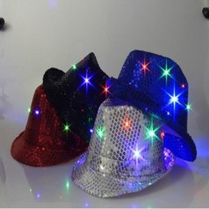 Wholesale Party Hats Color Flashing Light Up Led Fedora Trilby Sequin Unisex Fancy Dress Dance Party Hat LED Unisex Hip Hop Jazz Lamp Luminous Hat