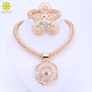 Wholesale 2017 Fashion New Big African Wedding Bridal Costume Jewelry Sets Dubai Indian Gold Plated Flower Pendant Necklace Sets For Women