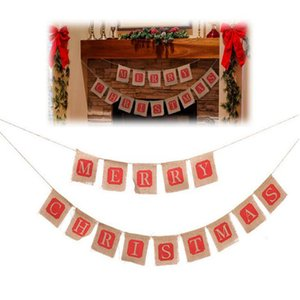 Wholesale DIY Christmas Flags Merry Christmas Bunting Sign Vintage Jute Garland Celebration Banner Handmade Hessian Rustic Burlap Bunting flags Xmas