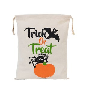 500pcs Newest Halloween Sacks Candy Gifts Bag 34X42CM Treat & Trick Drawstring Bags Cotton Canvas Kids Pumpkin Spider Tote Bag on Sale