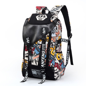 Wholesale New Super Large Fashion Cool Leisure Canvas Backpack Travel Bag for Men and Women Great Britain Flag Doodle Letter Printing