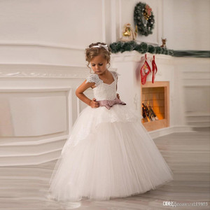 sell like hot cakes Princess White Tulle Lace Tutu Ball Gown Long Flower Girl Dresses Professional custom dress sizes