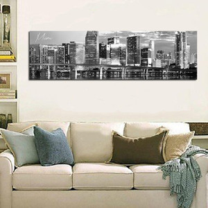Black and White Panoramic Cities Canvas Miami City Large Size Wall Decoration Photography Image HD Printed On Canvas Unframed