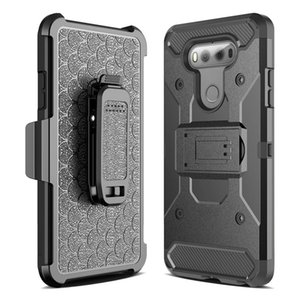 Wholesale Hybird Armor Shockproof Dual Layer Full Body Case Cover for LG G6 Stylo Stylus with Holster Locking Belt Swivel Clip Kick Stand