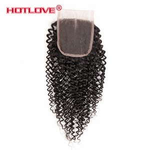 4x4 Brazilian Peruvian Malaysian Indain Virgin Hair Lace Top Closure Pieces Kinky Curl Hair Lace Closure with Baby Hair Free Middle 3 Wavy