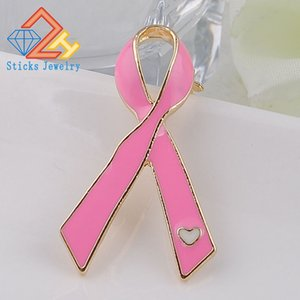 Wholesale aids day for sale - Group buy World AIDS Day publicity signs rhinestones pink drops of oil ribbon brooches pin jewelry Sticks Jewelry