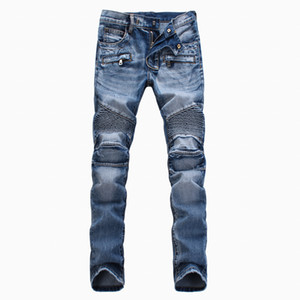 New Arrival Fashion brand Man Winter&Spring light-colored trousers motorcycle pants men's Slim Straight jeans black   blue   white on Sale