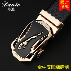 Wholesale Men leather automatic buckle belts pd all cowhide male jaguar business belt gift box