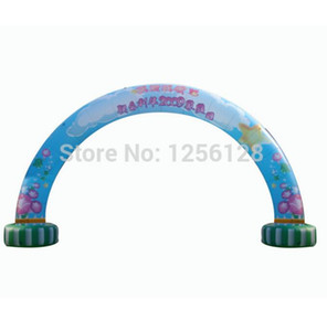 Wholesale Long Curved Digital Printed standing Air blue Inflatable arches welcome and advertisement entrance Balloon archway