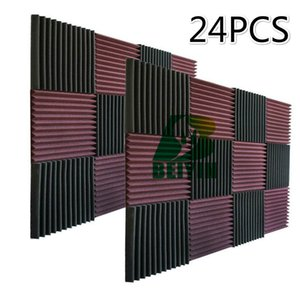 24PCS Acoustic Panel Treatment Silencing Sponge Panel Studio Tile Wedge Foam Sound Absorption Soundproof Foam 30X30X2.5cm