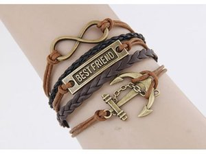 Wholesale Hot exaggerated punk temperament straps retro fashion anchor infinite best friend braided bracelet hand woven bracelet free shipp