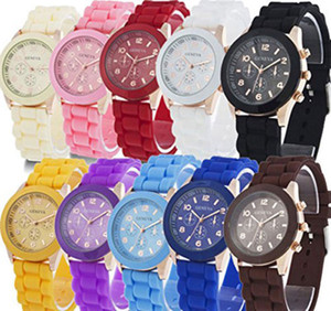 10 Pack Wholesale Geneva Men Women Children Analog Display Silicone Watches Jelly Tone Quartz Dress Wristwatches Birthday Christmas Gift Set