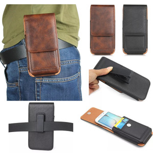 Wholesale Luxury Universal Holster Belt Clip Waist Man Flip Leather case Cover pouch Bag cell Phone Case For iPhone S X Plus Samsung S8 S9 plus