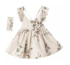 Wholesale INS baby girl toddler Kids Summer clothes Rose Floral Dress Jumper Jumpsuits Halter Neck Ruffle Lace Shoulder Sexy Back headband L005