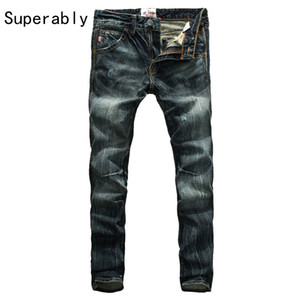 Wholesale Hot Sale Men s Dark Distressed Jeans Mid Stripe Slim Straight Denim Pants Male Superably Brand Jeans Men