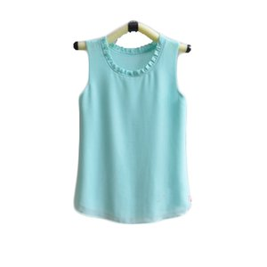 new brand Fashion Summer Women Pleated collar Solid Color Clothes Chiffon Tops Sleeveless blouse nice and cool T shirt no.398