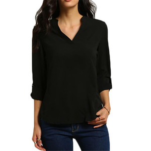 2019 New Fashion Women Long Sleeve Chiffon V Neck T Shirt Autumn Sexy Work Casual Tops Womens Plus Size Tee Solid Black White