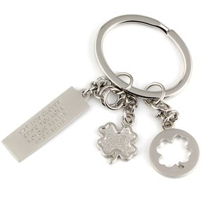 Wholesale 10pcs Clover Keychain Four leaf Fortune Love Honour Health Wealth Key Chain Ring Keyfob Keyring