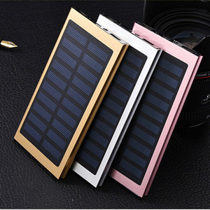 Wholesale Ultra Slim Luxury mah External Solar Power Bank Double USB Portable Battery Charger for all phone pad iPhone HTC Xiaomi