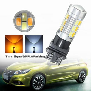 Wholesale 2pcs hot W T25 SMD Car LED Dual Color High Power Amber White Switchback Lens With Lens Turn Signal DRL Parking Bulbs Lamp