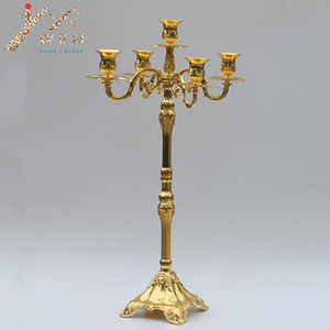 Wholesale Modern golden plated arms floor candelabra cm height wedding candle holder centerpiece candle stick