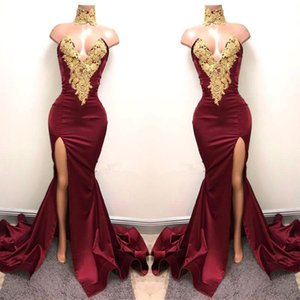New Design 2K19 Sexy Burgundy Prom Dresses with Gold Lace Appliqued Mermaid Front Split for 2019 Long Party Evening Wear Gowns on Sale