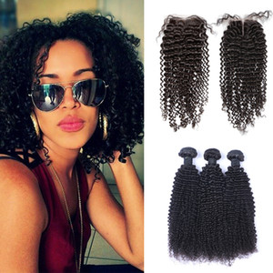 pelo caliente venta al por mayor-Hot Selling Brasilian Kinky Curly Hair Tejido paquetes con cierre Free Middle Part Double Double Pein Pein Extensions Dyable Human Hair