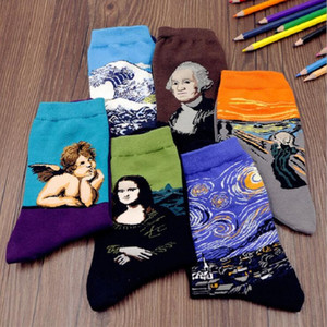 ван гог звездное ночное масло оптовых-Pair Fashion Women Men Harajuku Printing Socks Mona Lisa Art Oil Painting Art Socks Starry Night Van Gogh Mural Socks
