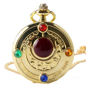 Wholesale Fashion Colorful Anime Sailor Moon Series Gift Women Lady Girl Quartz Pocket Watch Necklace Watches Best Present