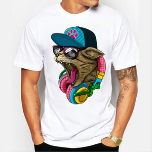 New Arrival Men's Fashion Crazy DJ Cat Design T shirt Cool Tops Short Sleeve Hipster Tees Free Shipping