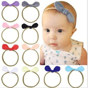 Wholesale Newborn Baby Headbands Bunny Ear Elastic Headband Children Hair Accessories Kids Cute Hairbands for Girls Nylon Bow Headwear Headdress DT528