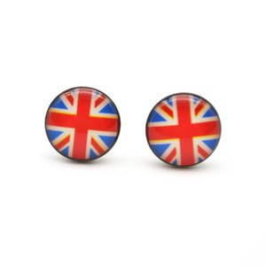 Wholesale New Arrival UK Motifs Ear Stud Earrings Ear Nail PIN l Stainless steel10mm No Fade No Allergies Union Jack Fashion Jewelry